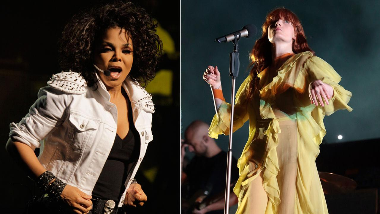 Janet Jackson performs in her Janet Number Ones, Up Close and Personal concert in Johannesburg. Florence Welch performs on Day 3 of the 2016 Firefly Music Festival.