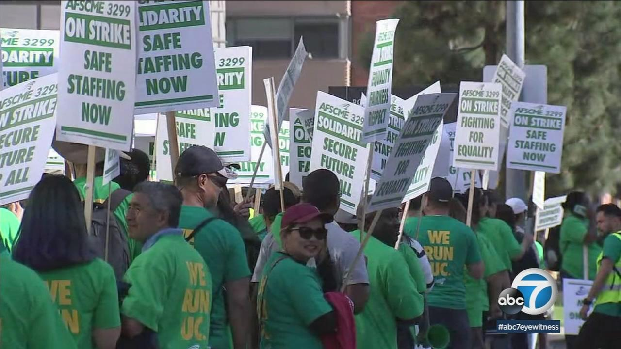 University of California service workers at UCLA begin to strike on Monday, May 7, 2018.