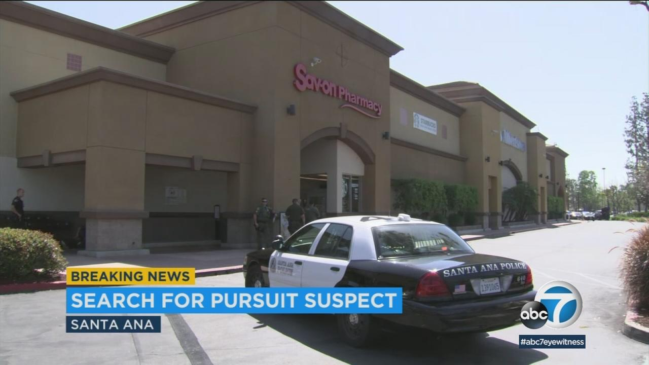 A stolen-car suspect eluded Orange County authorities, leading them on a high-speed chase and escaping into a Santa Ana Albertsons.