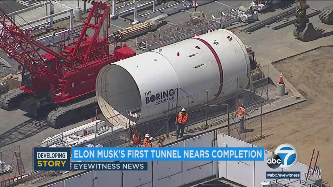 Elon Musks plan to solve Los Angeles traffic problem hit a milestone with the revealing of the first two-mile stretch of his underground tunnel.