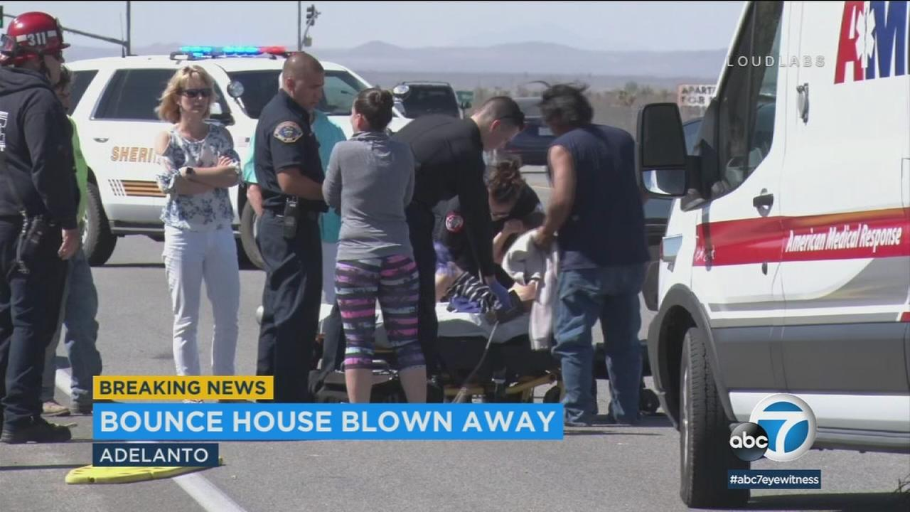 A 9-year-old boy is expected to be OK after a bounce house blew away from an Adelanto home and onto a street on Saturday.