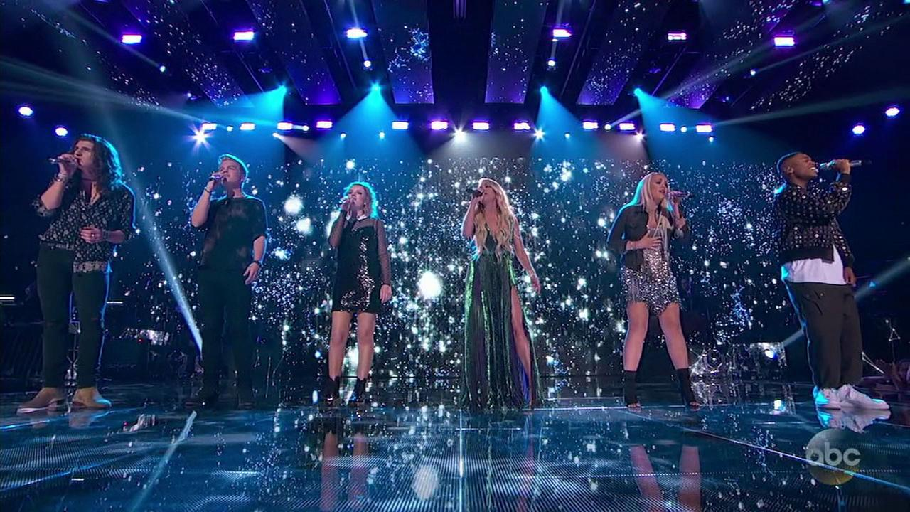 Final five contestants sing with Carrie Underwood on American Idol on Sunday, May 13, 2018.