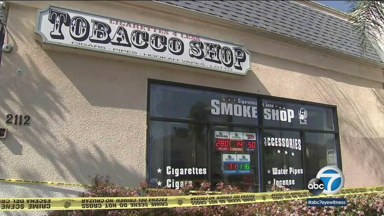A tobacco business in Montebello where one person was shot during an attempted robbery on Monday, May 14, 2018.