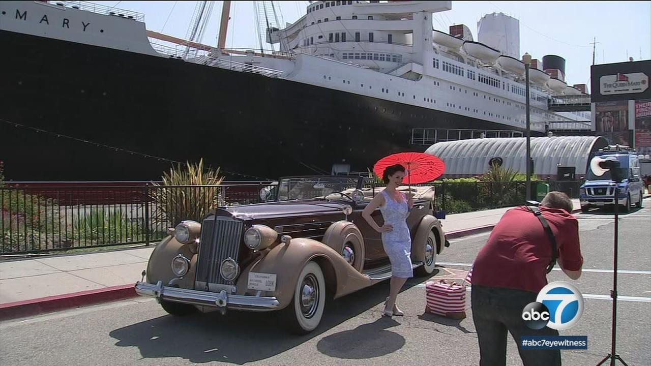 Female veterans dressed up like WWII-era pinups for a photo shoot on the Queen Mary in Long Beach to raise money for veterans causes.