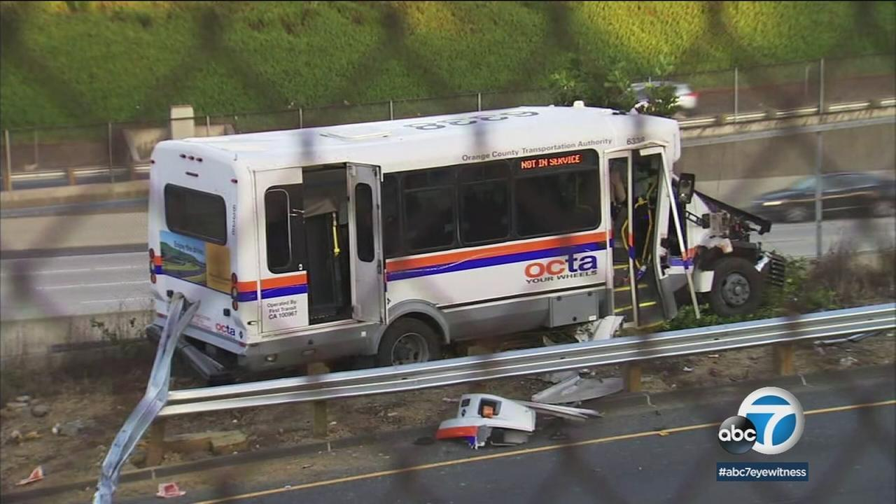 A damaged OCTA shuttle bus is shown after a driver stole the vehicle and crashed it while fleeing police during a chase that ended in Costa Mesa.