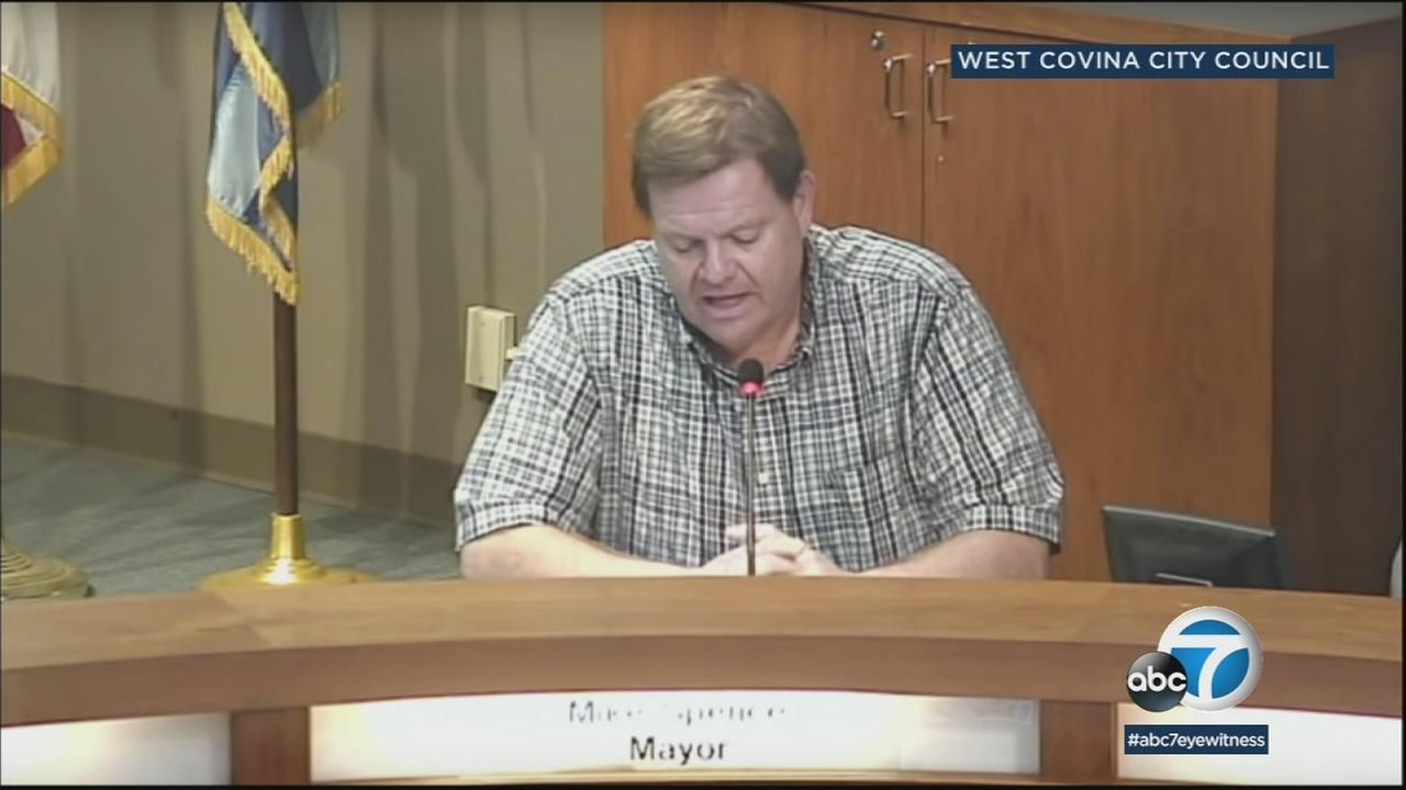 West Covina Mayor Mike Spence speaks at a City Council meeting.