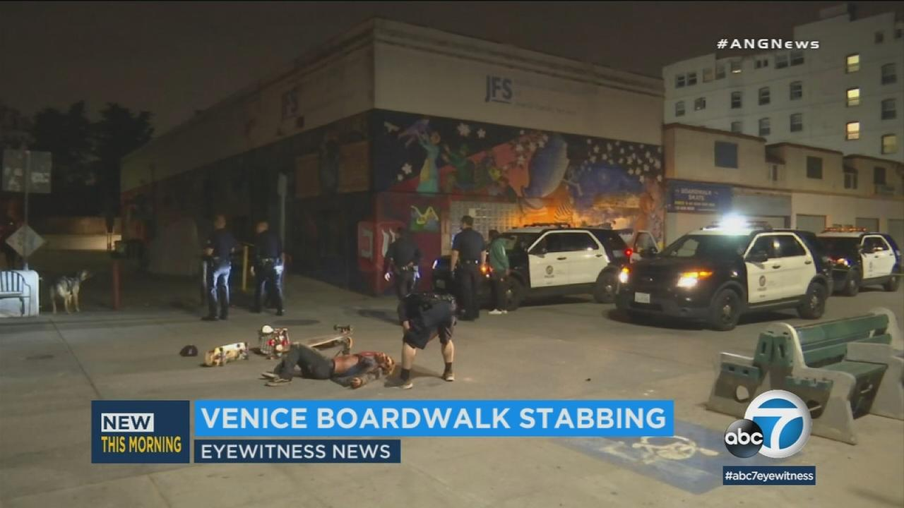 Two stabbing victims and a suspect were hospitalized after an argument on the Venice Beach boardwalk escalated into violence.