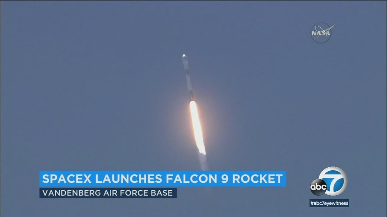 A SpaceX Falcon 9 rocket with a pair of U.S.-German science satellites and five commercial communications satellites blasted off from Vandenberg Air Force Base on Tuesday.
