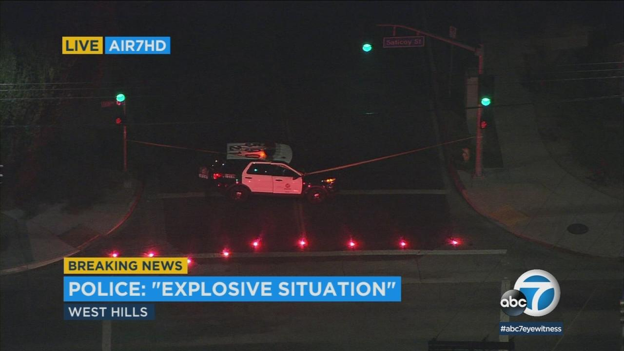 The LAPD bomb squad was working to render safe a a suspicious device in West Hills on Wednesday, May 23, 2018.