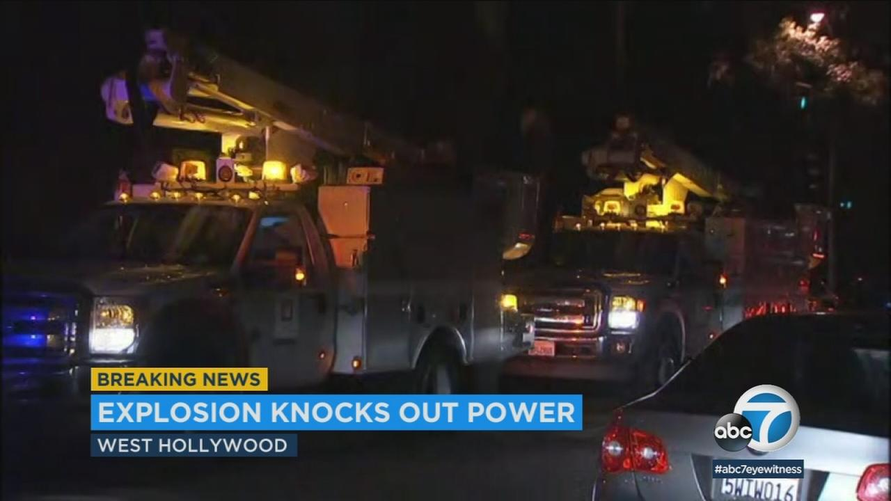 A Mylar balloon struck a pole and caused a possible transformer explosion that led to a power outage in West Hollywood Thursday night.