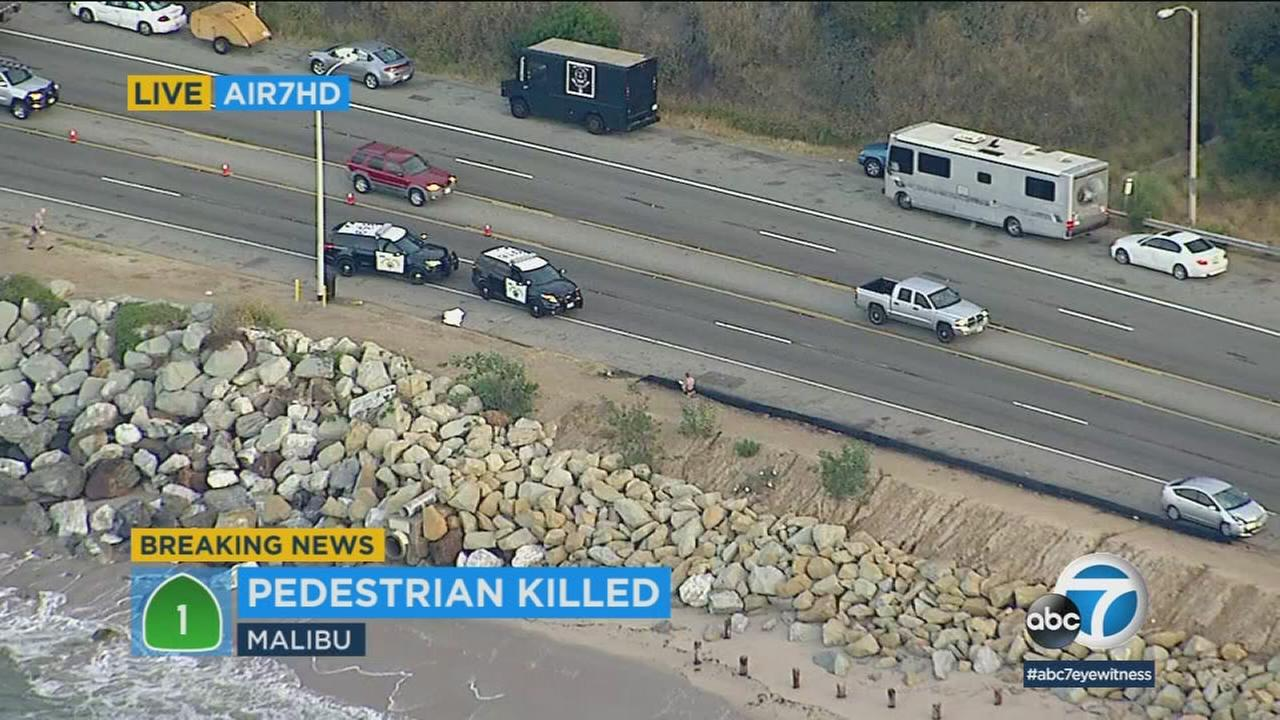 A pedestrian was struck and killed on Pacific Coast Highway in Malibu, prompting the brief closure of all eastbound lanes.