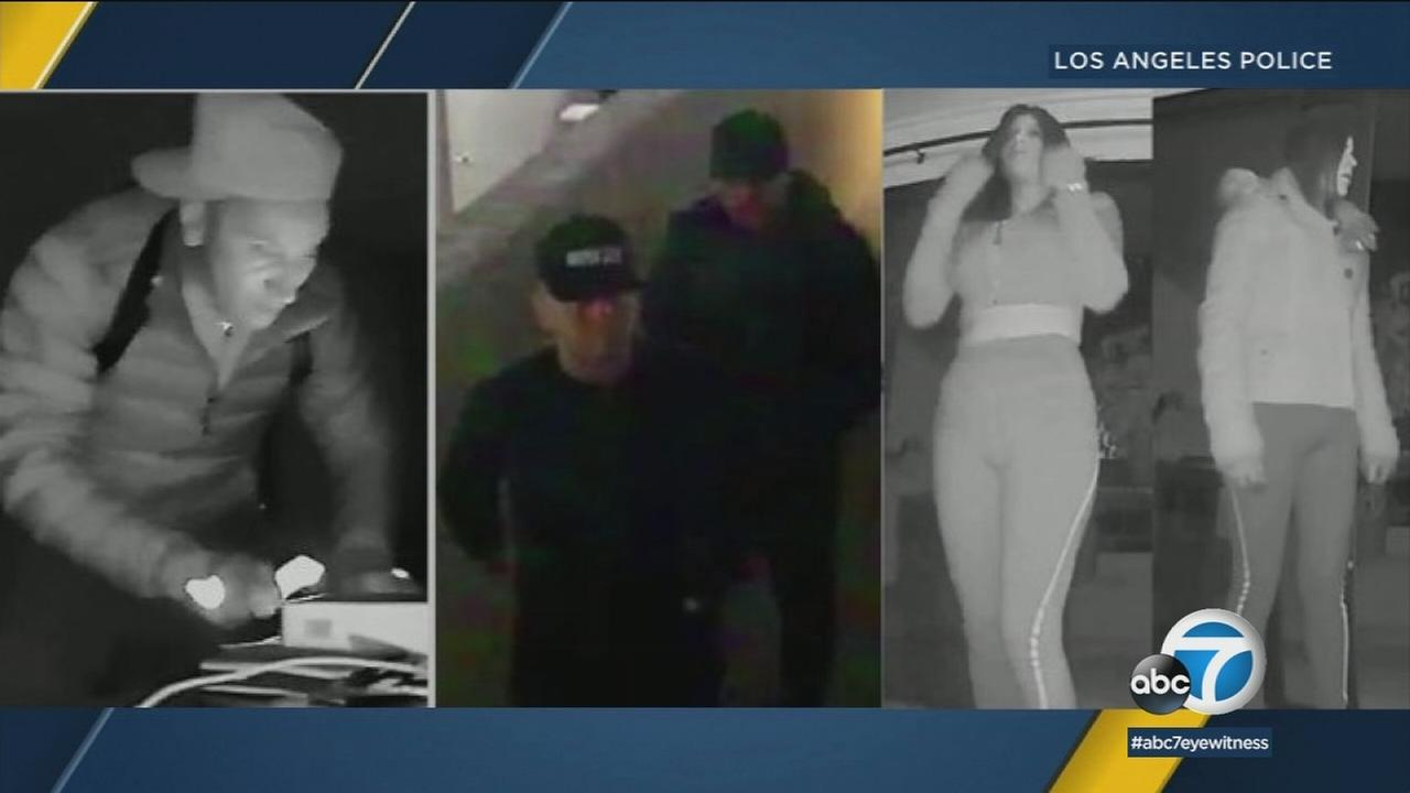 Suspects involved in a series of residential burglaries in the North Hollywood and Studio City area are shown in surveillance images.