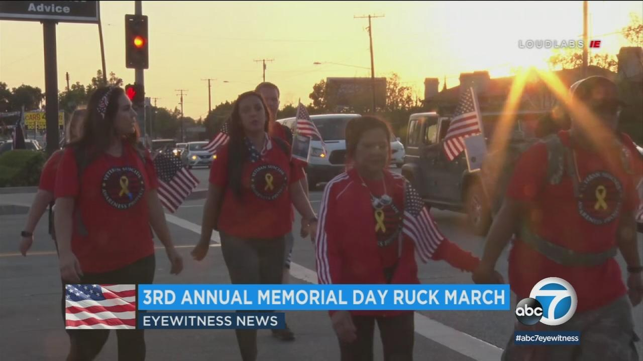 Ruck march participants walked nearly 40 miles on Monday morning to honor military veterans who haven taken their own life.