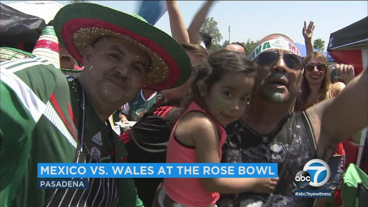 Thousands of fans of the Mexican national soccer team are flocking to the Rose Bowl Monday to give their team a boisterous sendoff for the World Cup.
