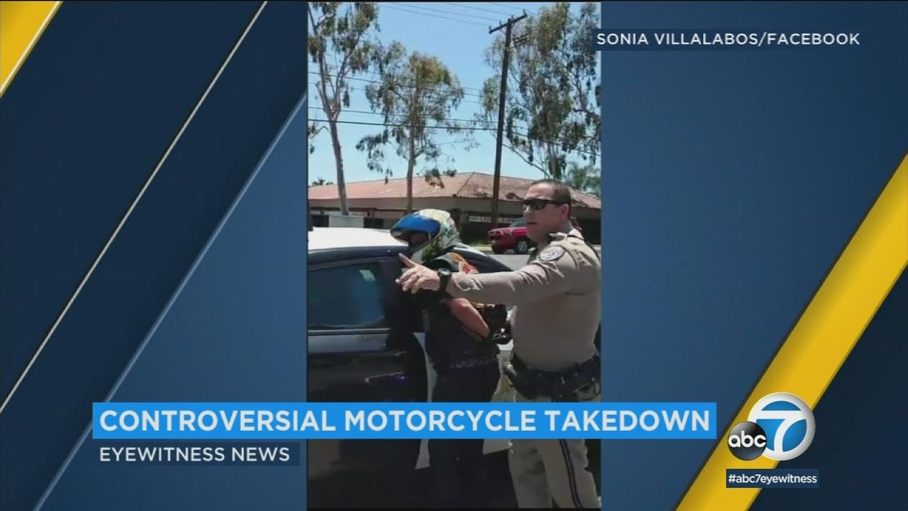 A CHP officer is shown on a Facebook Live video as he arrests a motorcyclist in Rancho Cucamonga.
