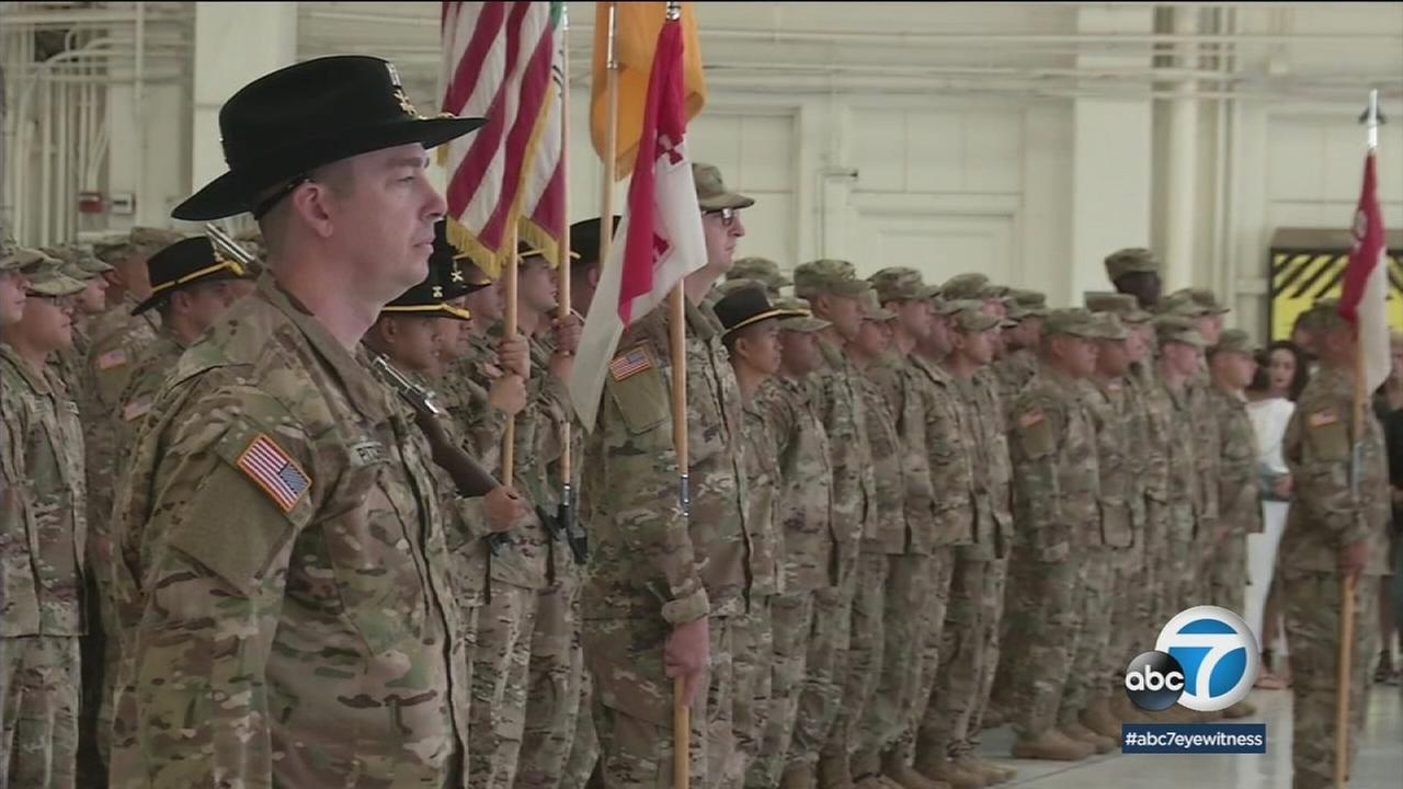 California National Guard soldiers stood during their deployment ceremony in Los Alamitos.