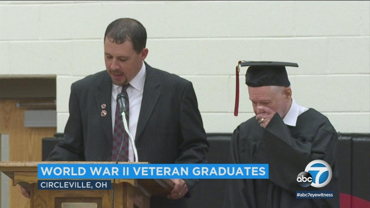 A 94-year-old WWII veteran was presented with his high school diploma in an emotional graduation ceremony.