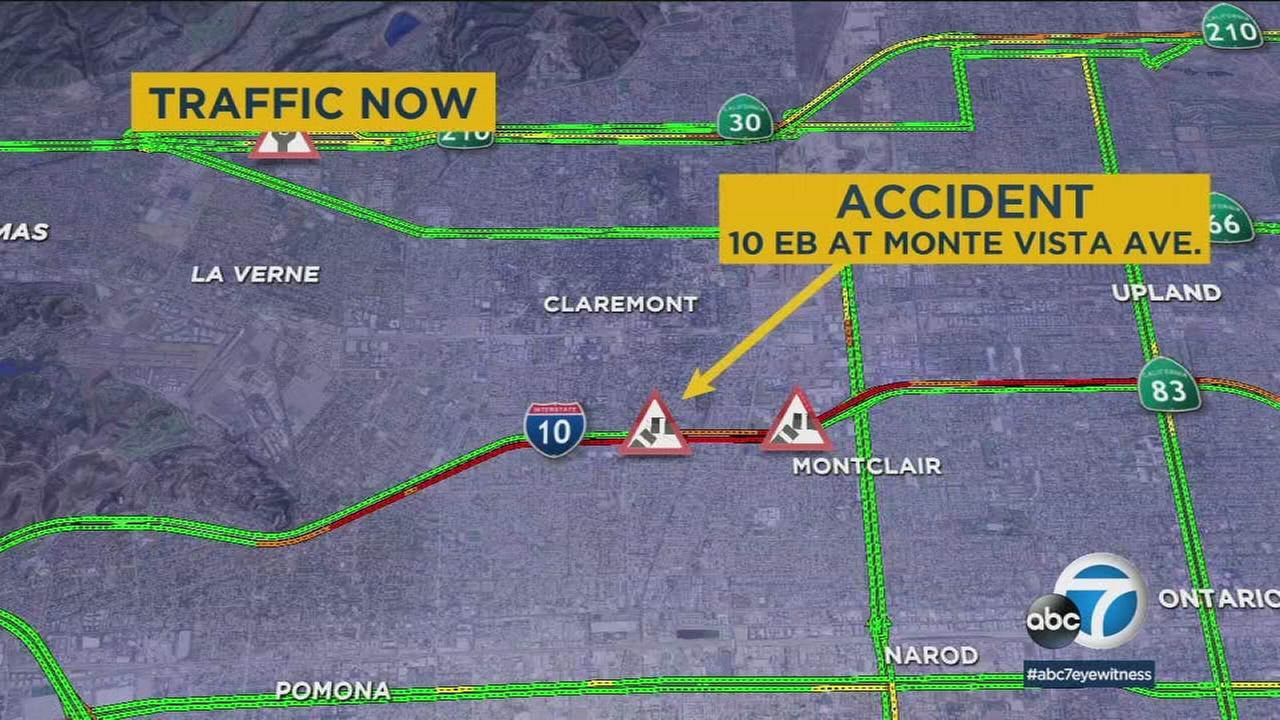 A map shows the location of a traffic fatality on the 10 Freeway in Montclair on Tuesday, May 29, 2018.