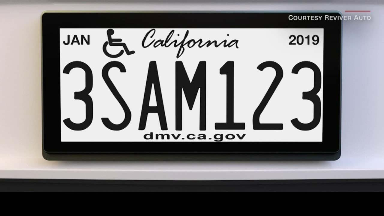 A digital license plate is seen in this undated photo.