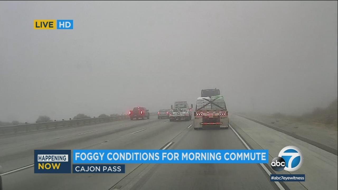 Another round of heavy fog rolled into the Cajon Pass Thursday morning, triggering warnings from authorities a day after a multi-car pileup in the same area injured at least 17 people.