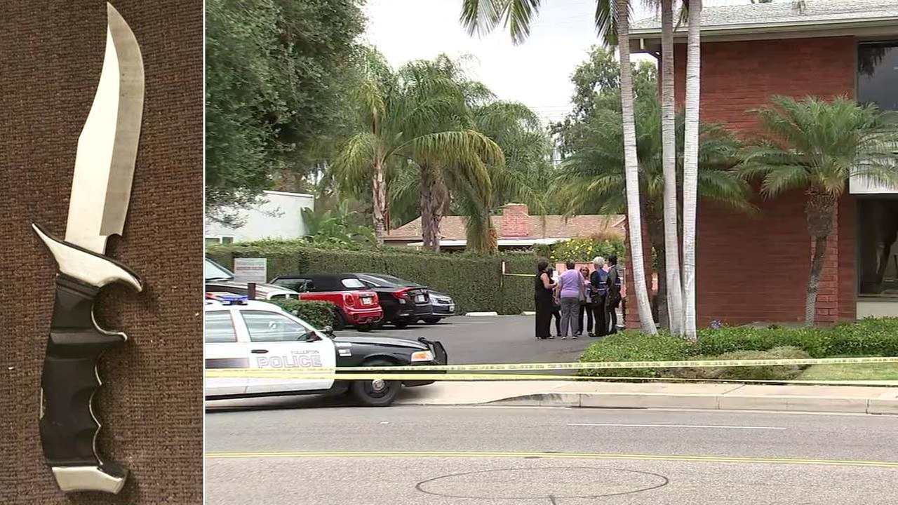 Police fatally shot a woman who investigators say stabbed her therapist during a session in her office in Fullerton Thursday.