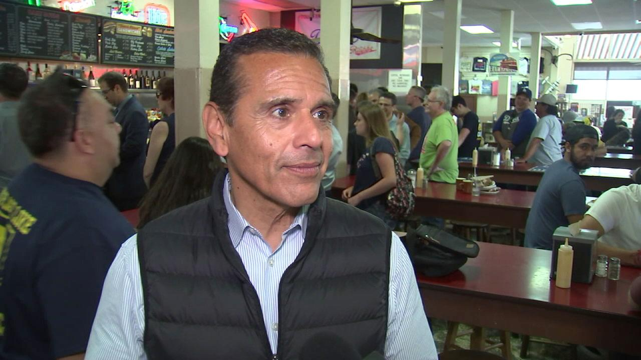 Antonio Villaraigosa is shown during an interview while he did a 24-hour campaign run in downtown L.A.