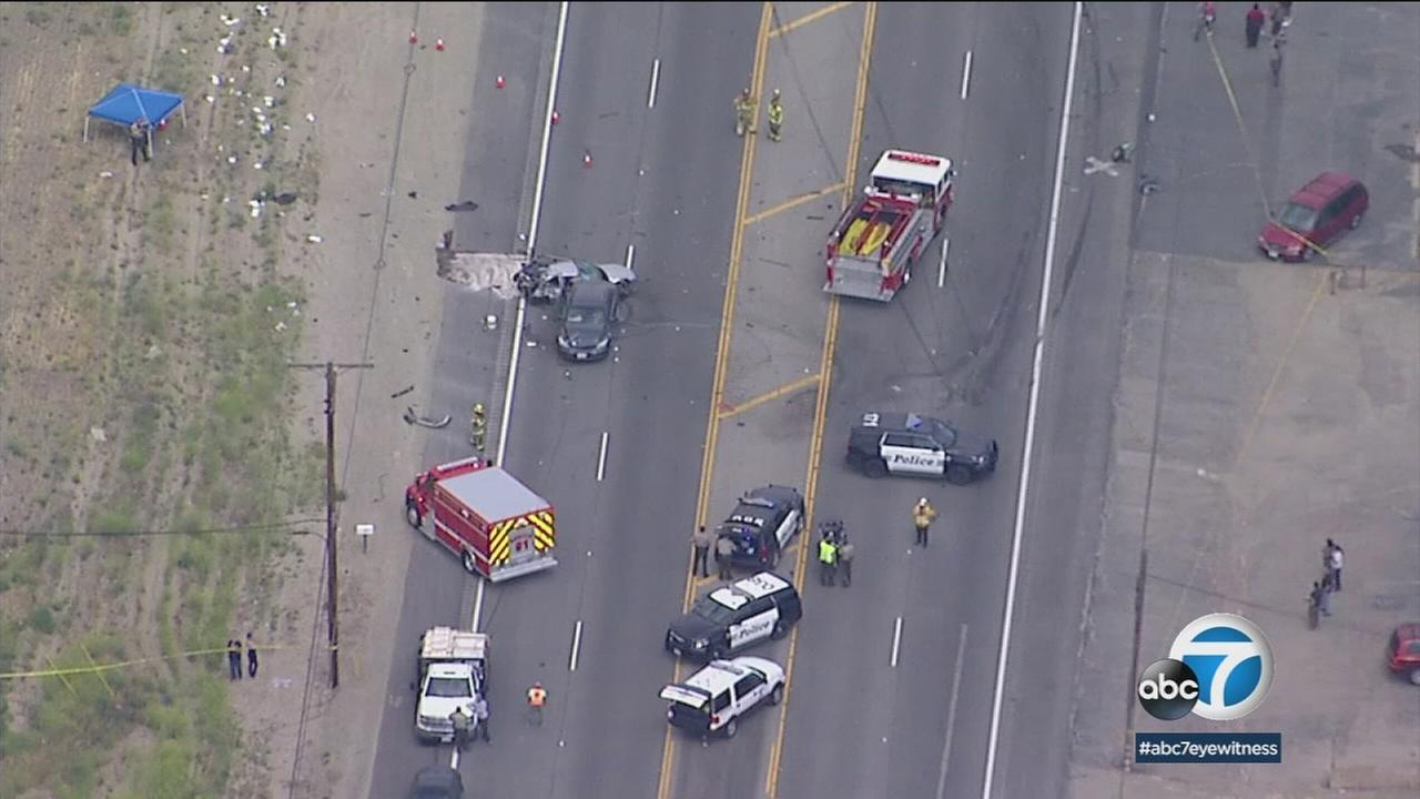 Two mangled vehicles involved in a multi-car crash that included a semitruck is shown on footage from AIR7 HD in Fillmore.