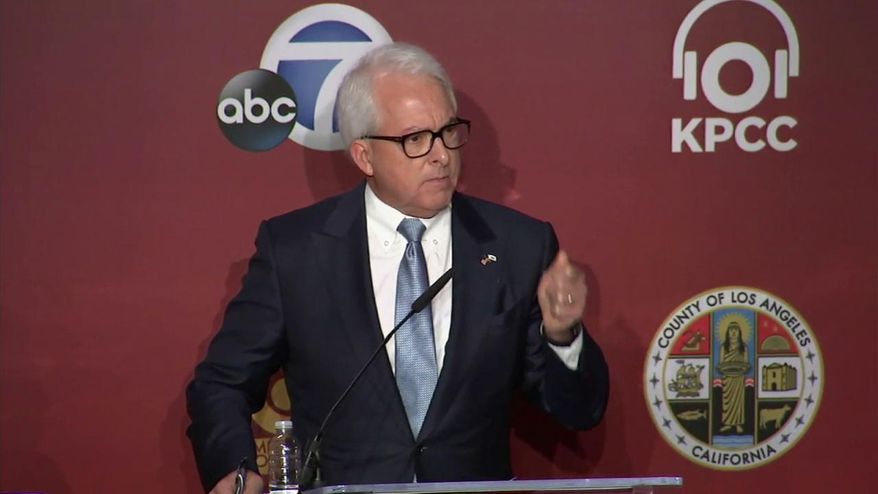 Republican John Cox is shown in a previous debate forum.