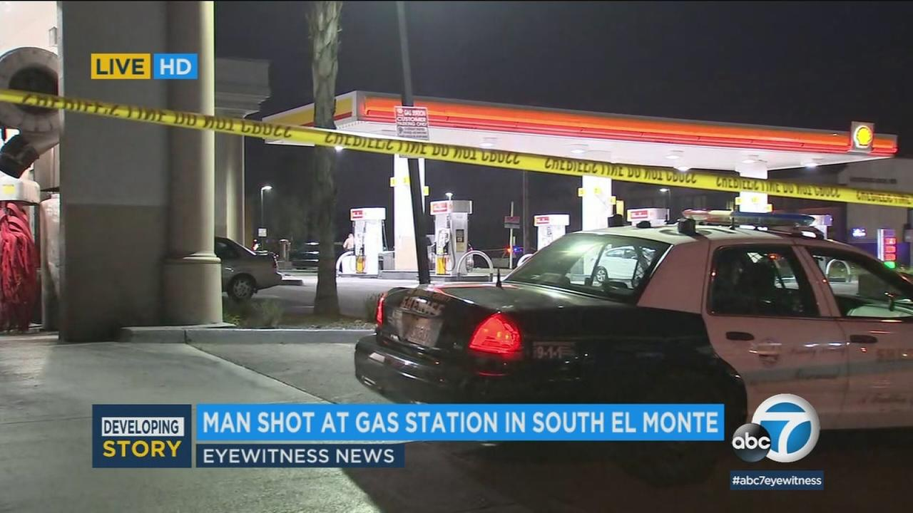The scene of a shooting at a South El Monte gas station on Monday, June 4, 2018.