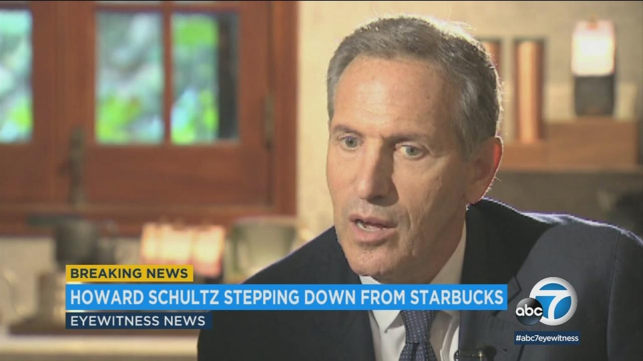 Starbucks says Howard Schultz is stepping down as executive chairman of the coffee chain he joined more than 30 years ago.