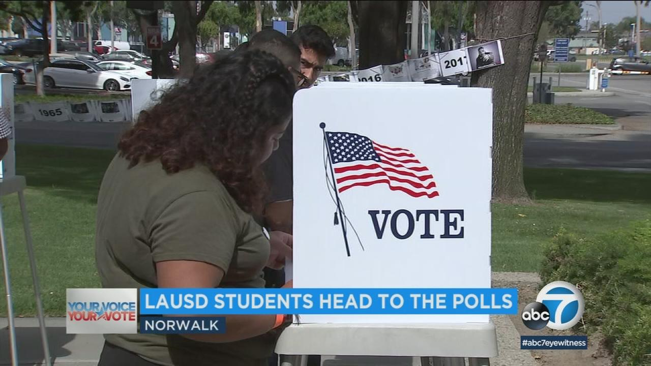 More than 200 high school seniors from the LA area were bused in to the Countys Registrar office to vote for their very first time ahead of Tuesdays elections.