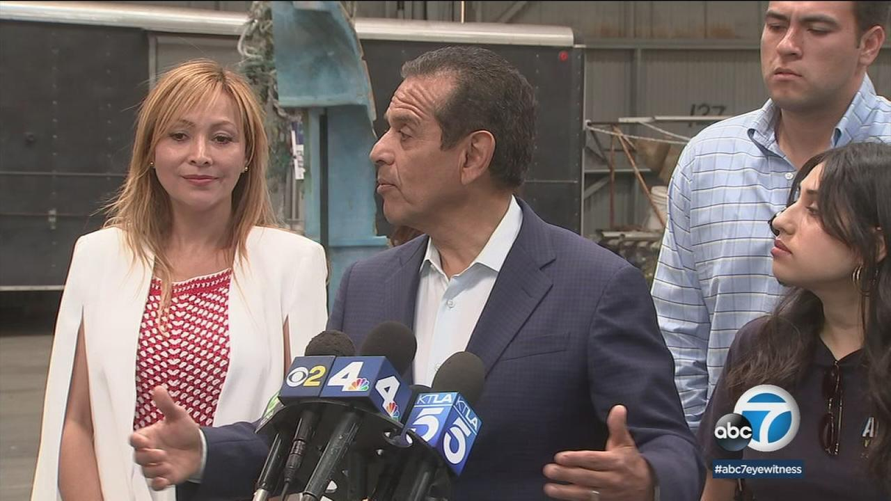 Antonio Villaraigosa is shown speaking at the port of Los Angeles.