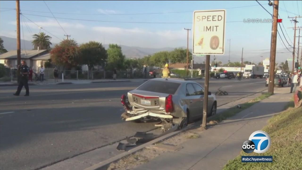 A bicyclist was killed after being struck by a car involved in a road rage incident with another vehicle in San Bernardino.
