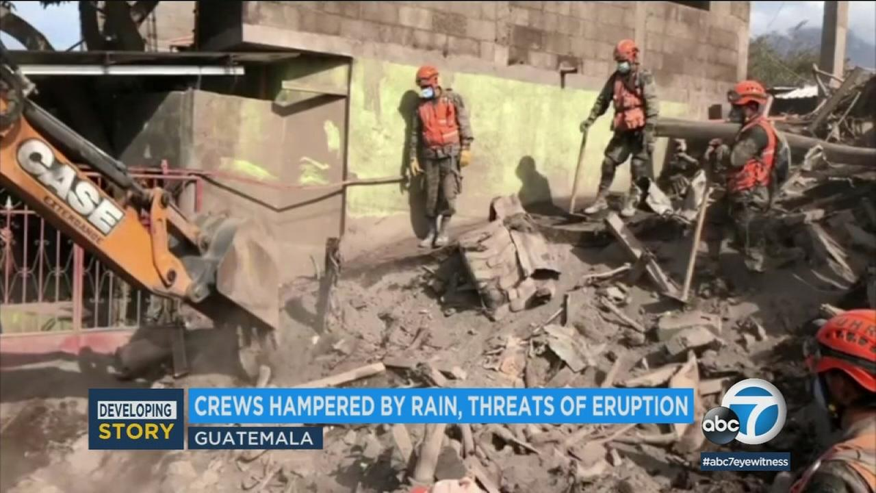 Emergency crews are sifting through wreckage as nearly 200 people remain missing after the eruption of Guatemalas Volcano of Fire.
