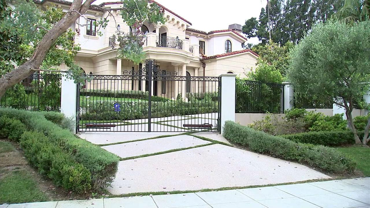 A Beverly Hills mansion where a burglary was interrupted by homeowners on Thursday, June 7, 2018.