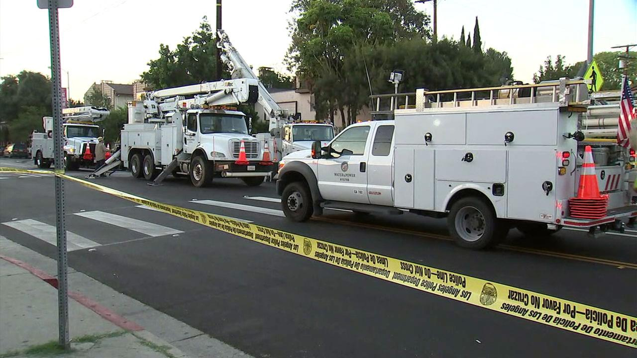 LADWP crews worked to restore power to Valley Village residents after a driver crashed into a power pole and fled the scene.