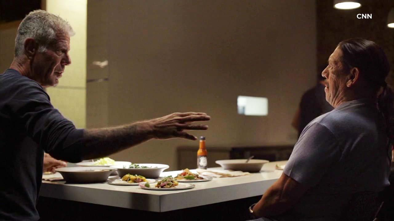 Legendary chef Anthony Bourdain eats with Danny Trejo on an episode featuring Los Angeles on the show, Parts Unknown.