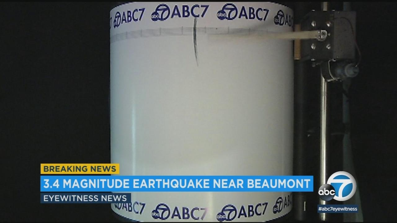 The USGS recorded a preliminary-magnitude 3.4 earthquake in Riverside County, near Beaumont, Friday.