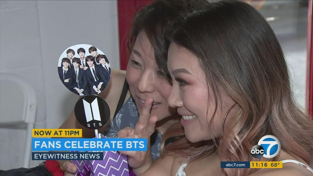 Fans of the South Korean boy band BTS got together in Culver City to celebrate the groups fifth anniversary.