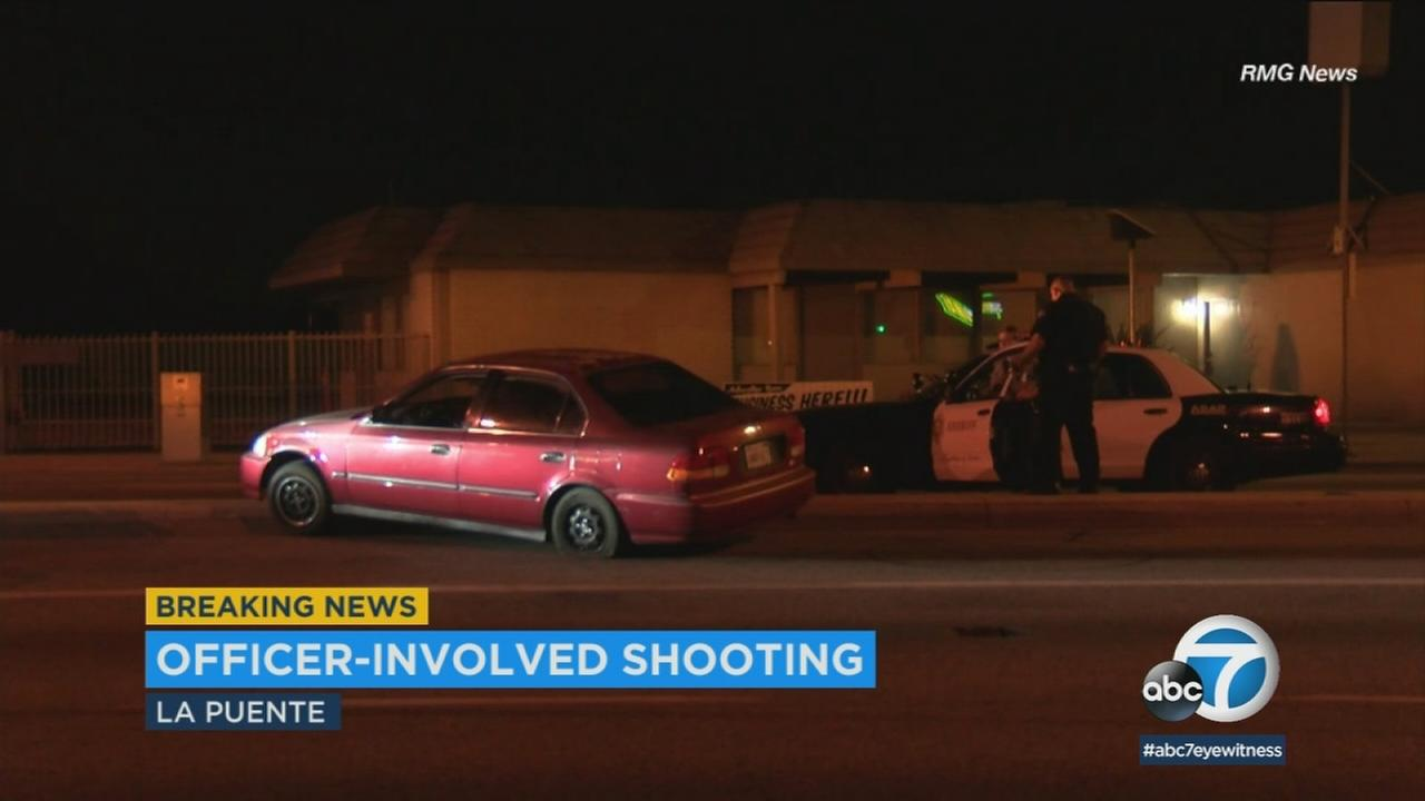 A robbery suspect is in custody after being shot by a West Covina Police Department officer on Monday night.