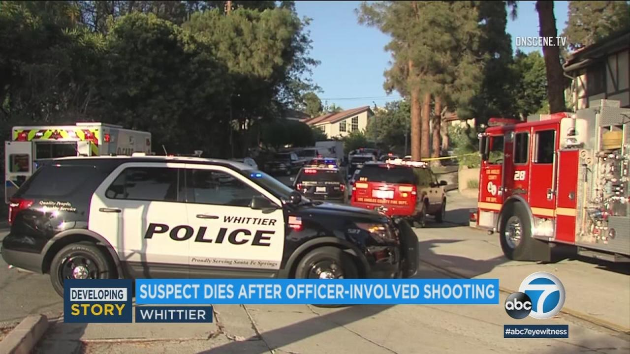 A man who abducted his family at knifepoint has died after being shot by police in Whittier on Monday night.