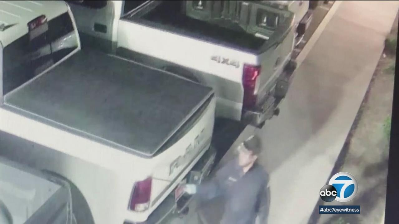 Dozens of cars at an auto dealership were sprayed with some sort of acid, and investigators are hoping surveillance video will help them catch the suspects.