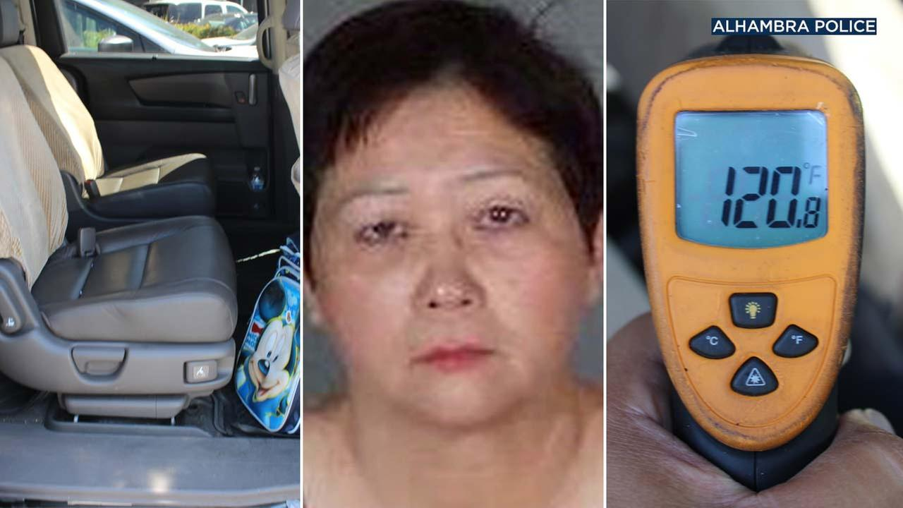 Alhambra police released photos of the inside of a car and a temperature reading after a boy was found in the vehicle, sweating profusely and crying, on Tuesday, June 12, 2018.