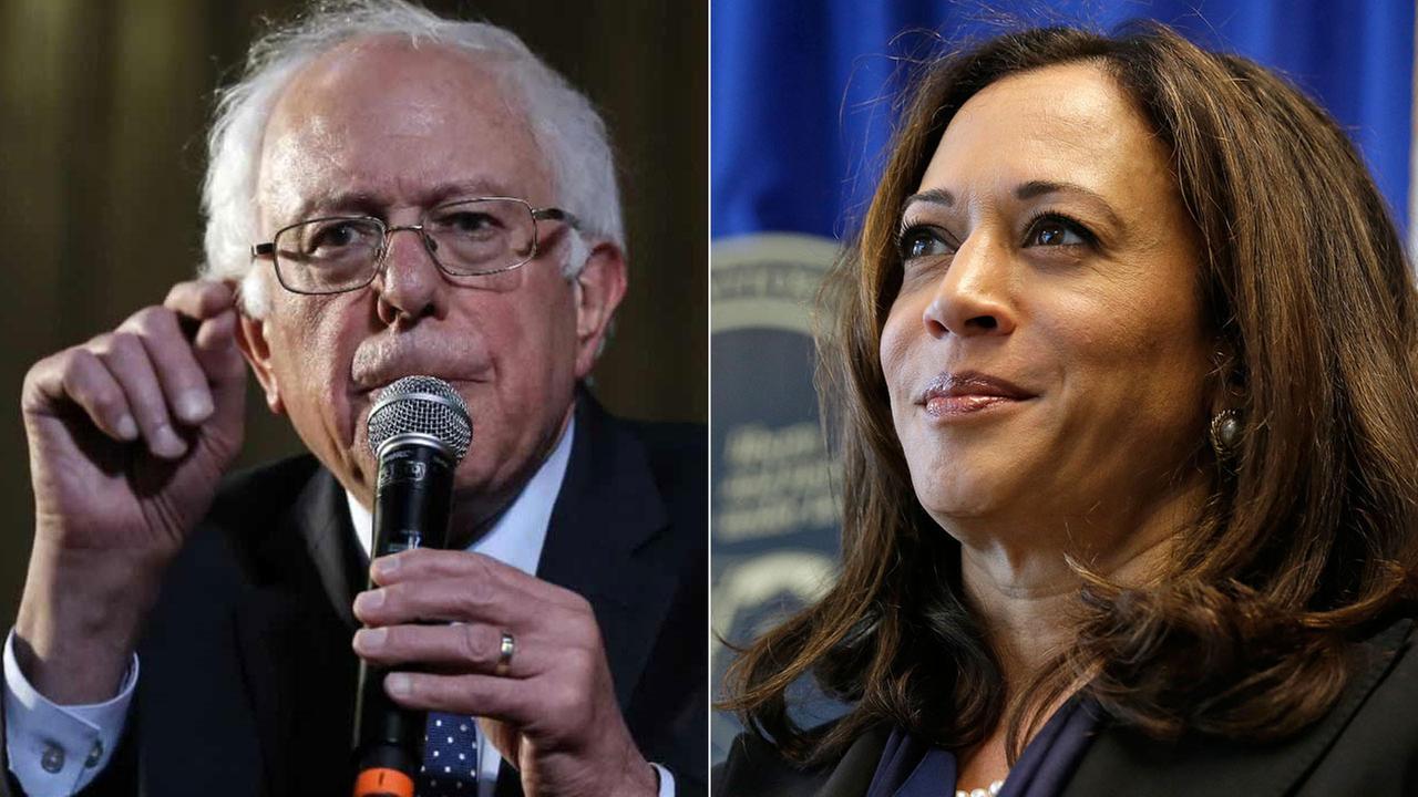 Undated photos of senators Bernie Sanders and Kamala Harris.