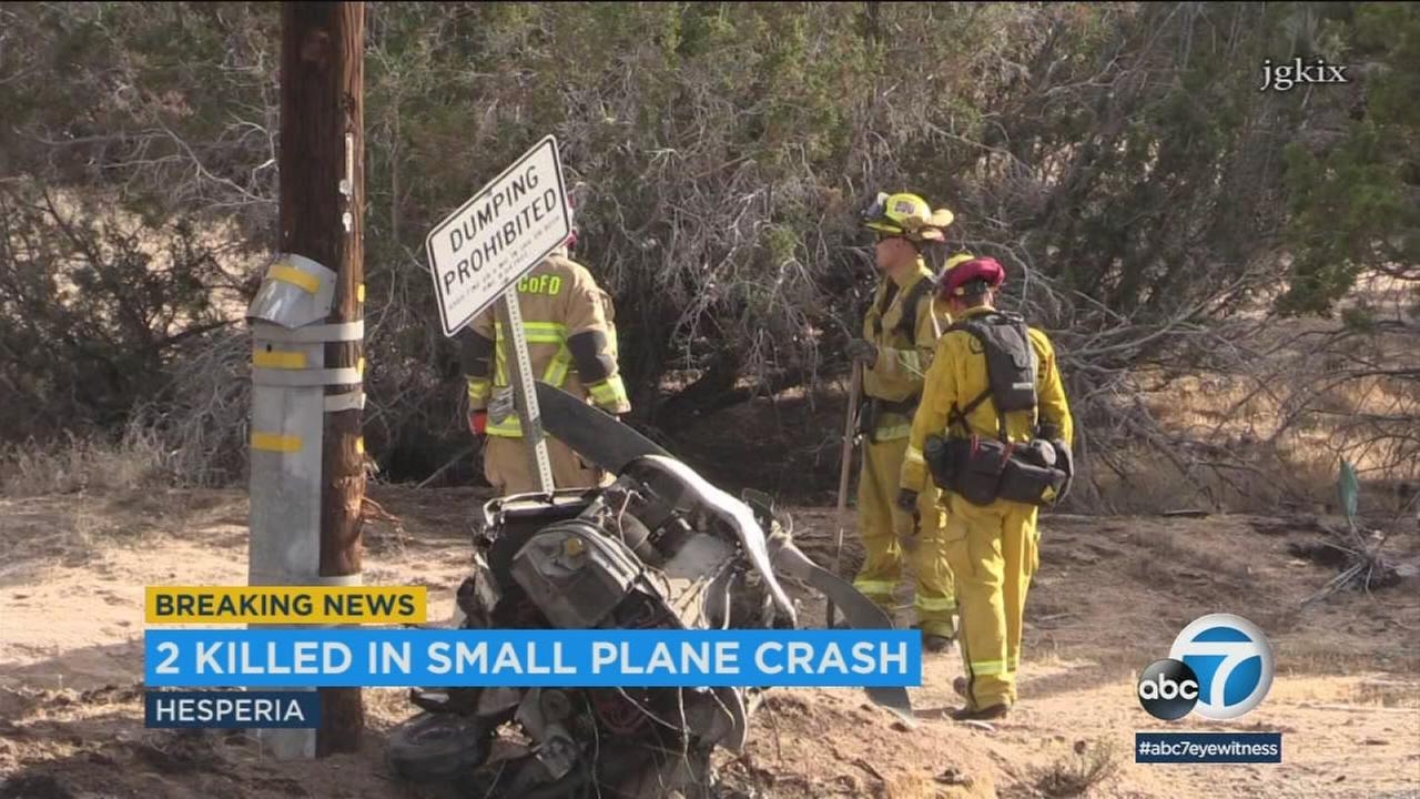 Two people were killed in a small-plane crash south of Hesperia Airport, authorities said.