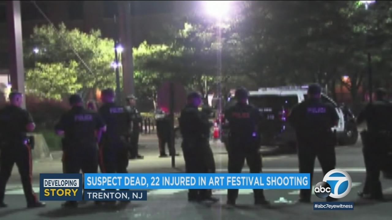 The scene of the aftermath of a New Jersey arts festival shooting on Sunday, June 17, 2018.