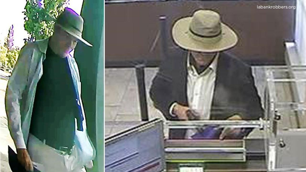 Surveillance photos show the Faux Badge Bandit, who authorities say robbed several Southern California banks.