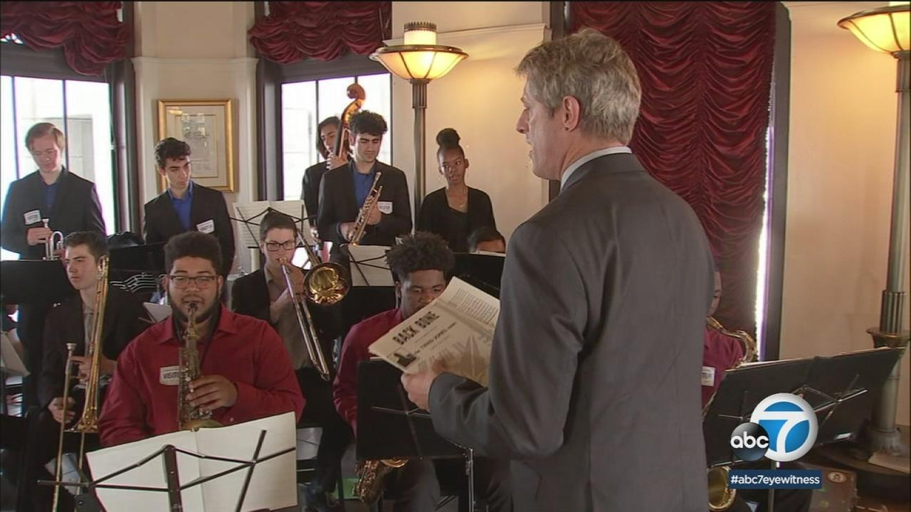 Students from Alexander Hamilton Highs jazz ensemble in Los Angeles were honored at city hall before they embark to China to perform at a youth music festival.