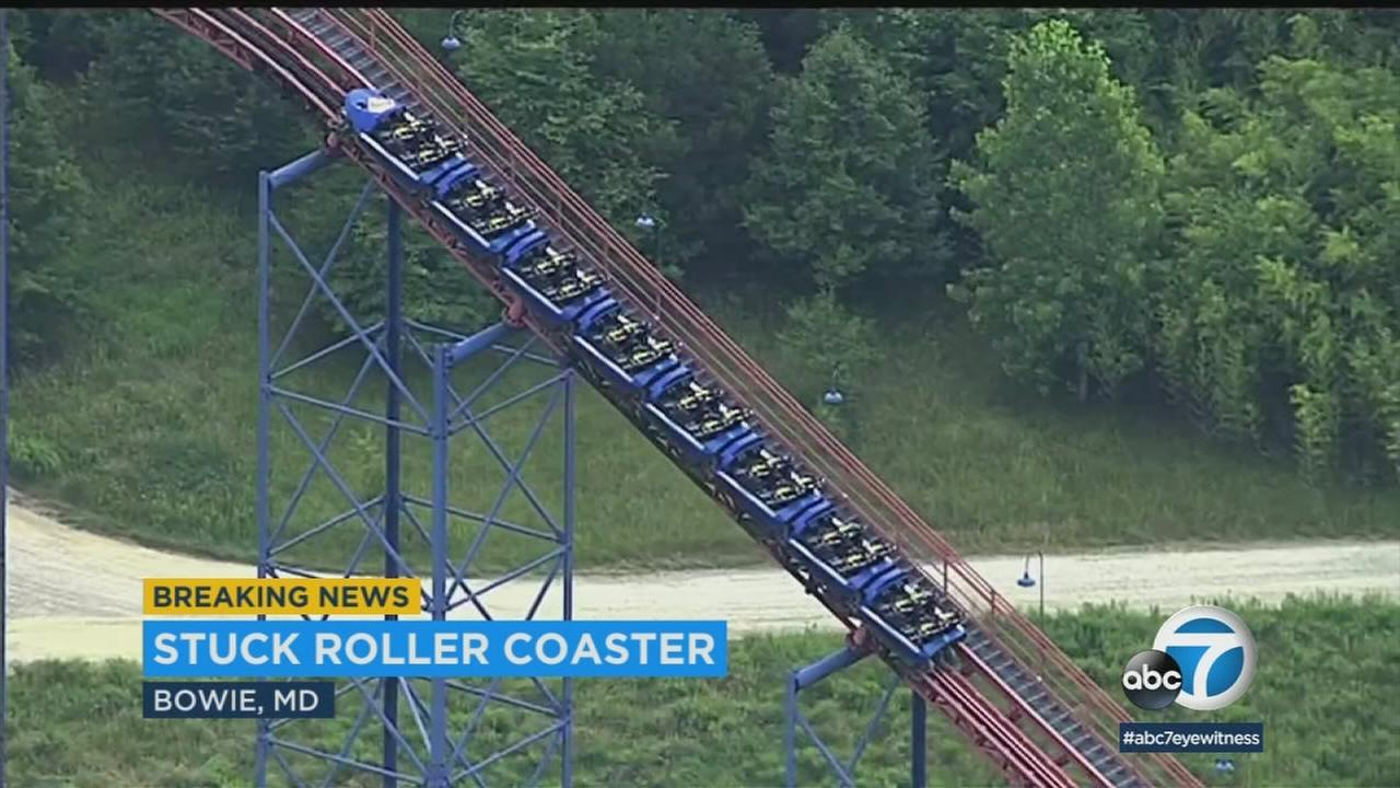 A car on the Superman: Ride of Steel roller coaster at Six Flags America in Maryland got stuck nearly 200 feet from the ground.