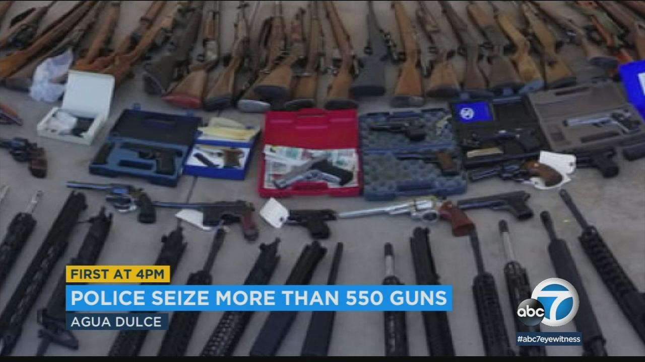 Los Angeles County sheriffs deputies and federal agents seized more than 550 firearms from Manuel Fernandez, 60, of Agua Dulce.